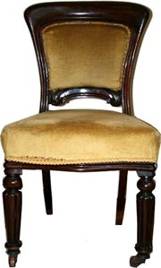 Wanted 4 mahogany dining chairs to match, with stuff over backs and seats
