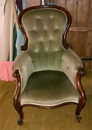 A very nice Victorian mahogany showood armchair with cabriole legs